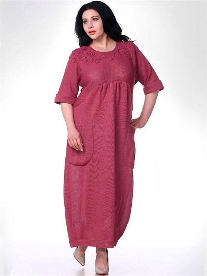 Трикотажное платье с карманами - фото 33439