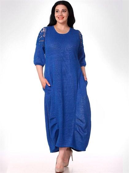 Длинное платье из льняного трикотажа - фото 33445