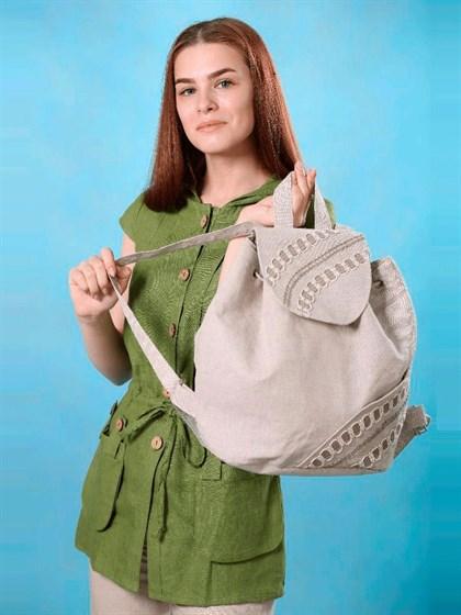 Льняной рюкзак с кружевом - фото 33704