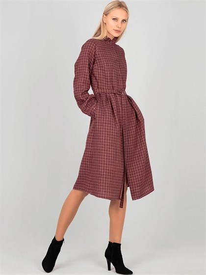 Платье-рубашка из льна и шерсти - фото 33885
