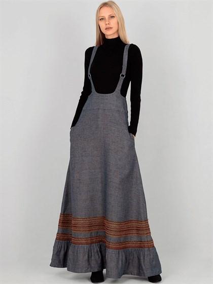 Длинная женская юбка с лямками - фото 33907