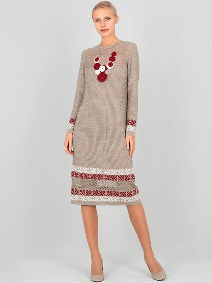 Вязаное льняное платье - фото 33914