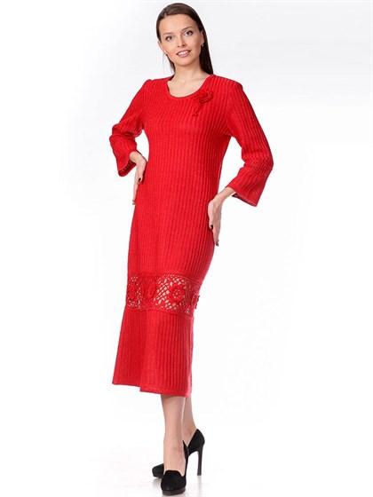 Вязаное платье с ажурной вставкой - фото 34174