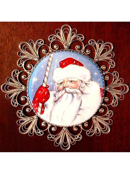 Панно финифть Дед Мороз - фото 34243