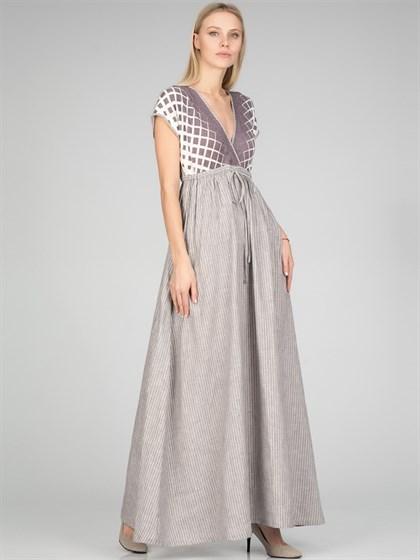 Платье длинное из льна и трикотажа - фото 35029