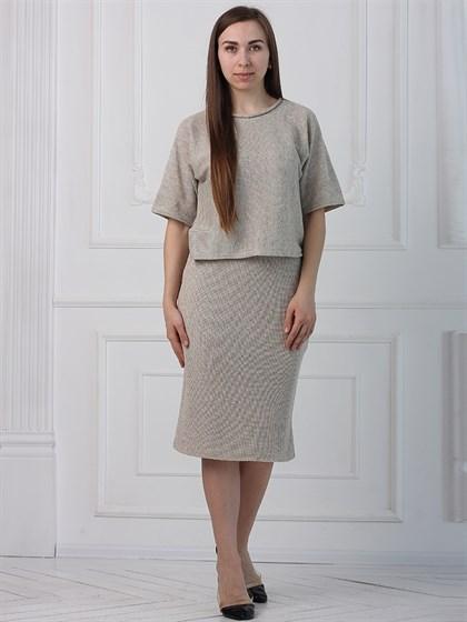 Льняная юбка прямого кроя - фото 35444