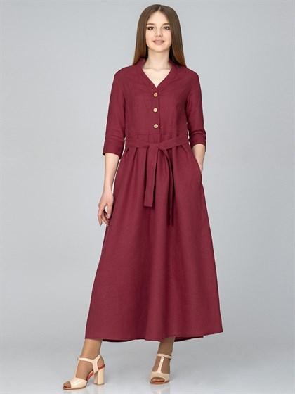 Платье льняное с поясом - фото 35805