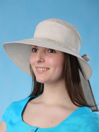 """Льняная шляпа с большими полями """"Виктория"""" - фото 36396"""