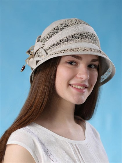Шляпка из льна с сеточкой - фото 36412