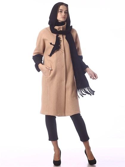 Пальто из вареной шерсти с шарфом - фото 37435