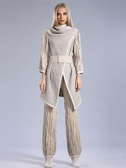 Пальто женское с поясом - фото 39055