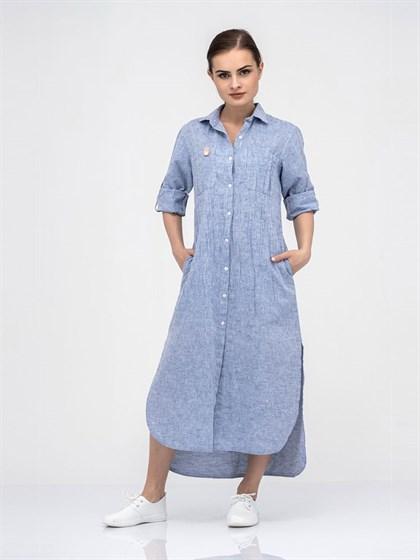 Платье-рубашка из льна и хлопка - фото 40724