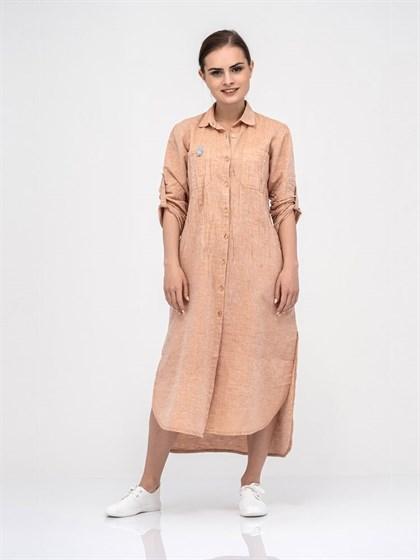 Платье-рубашка из льна и хлопка - фото 40742