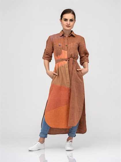 Платье - рубашка из льна - фото 40774