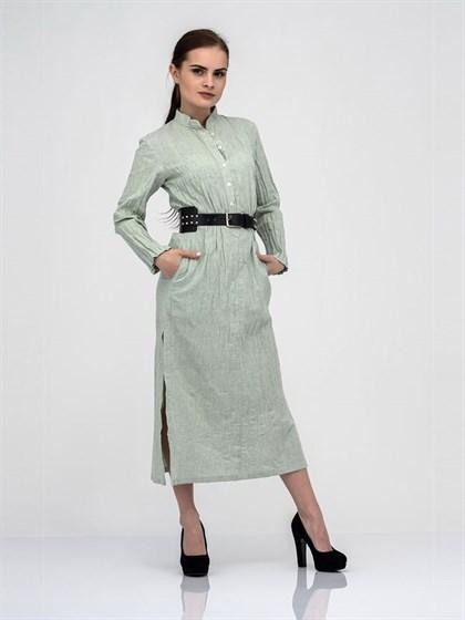 Платье-рубашка из льна и хлопка - фото 40835