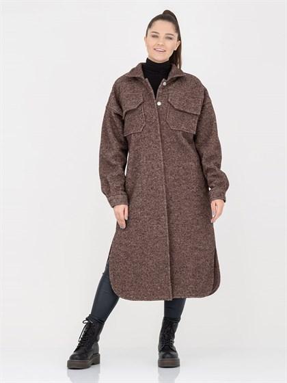 Пальто-рубашка из вареной шерсти - фото 45378