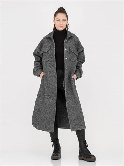 Пальто-рубашка из вареной шерсти - фото 45380