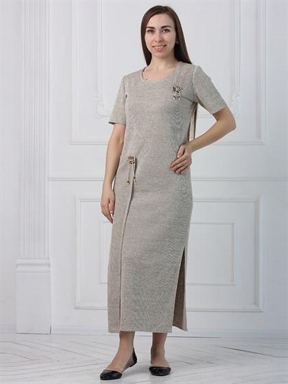 Длинное льняное платье с коротким рукавом - фото 45572