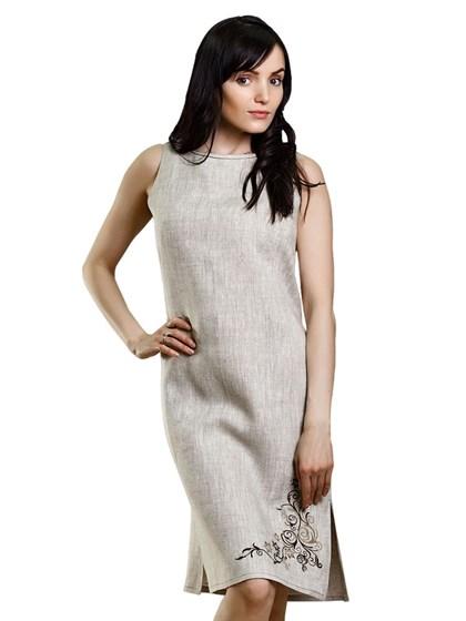Льняное платье с вышивкой - фото 47051