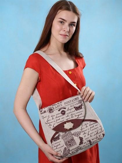 Льняная сумка М (печать) - фото 51014