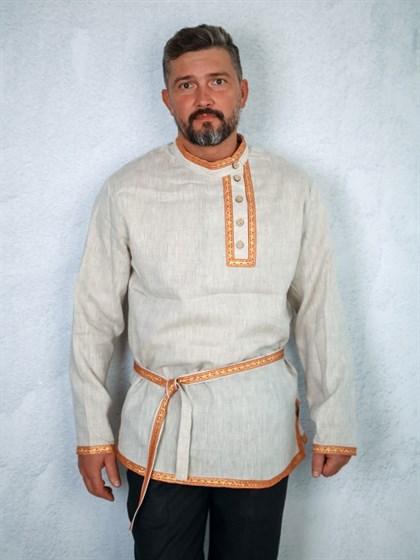 Рубашка косоворотка из льна мужская - фото 52366
