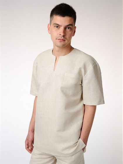 "Льняная мужская рубашка ""Спортивная"" - фото 52620"