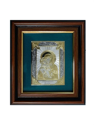 Икона серебряная Владимирская Пресвятой Богородицы