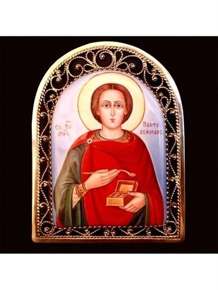 Икона финифть Целитель Пантелеймон