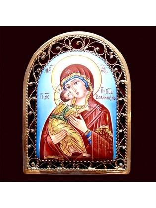 Икона финифть Пресвятая Богородица Владимирская