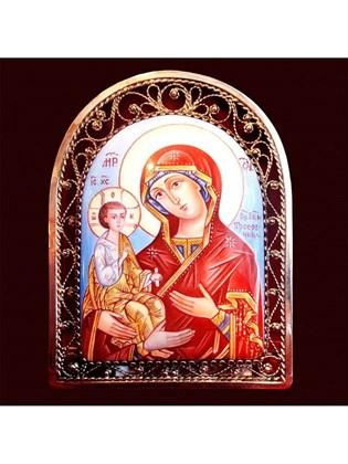 Икона финифть Пресвятая Богородица Троеручница