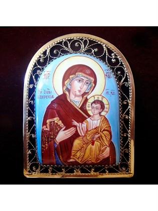 Икона финифть Пресвятая Богородица Иверская