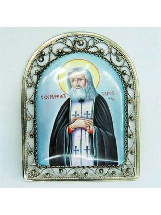 Икона финифть Серафим Саровский