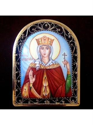 Икона финифть Святая мученица Людмила
