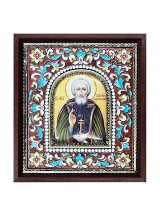 Икона финифть Сергий Радонежский