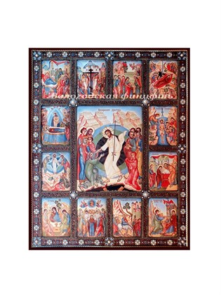 Икона финифть Двенадцать праздников