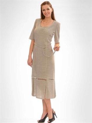 Платье изо льна с поясом