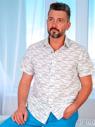 Рубашка мужская из льна