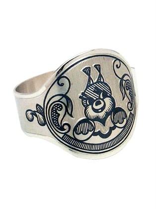 Кольцо серебряное салфеточное