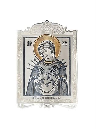 """Икона серебряная Пресвятой Богородицы """"Семистрельная"""""""