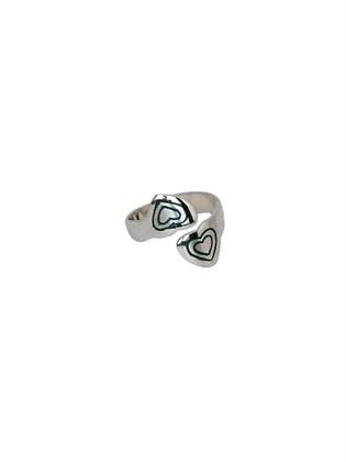 Кольцо серебряное в форме сердца