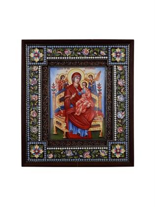 Икона финифть Пресвятая Борогодица Всецарица