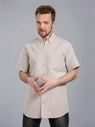 Льняная мужская рубашка с коротким рукавом