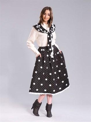 Полушерстяная юбка в горошек