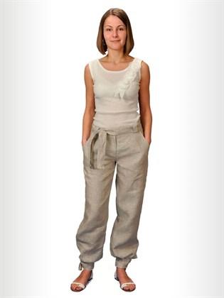 Льняные брюки с манжетами и поясом