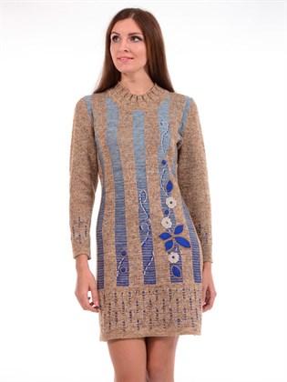 Платье вязаное с длинными рукавами