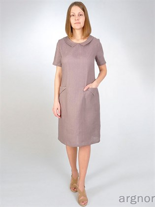 Льняное платье с воротничком