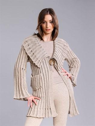 Жакет -пальто из льняной пряжи