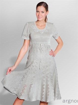 Вязаное платье изо льна