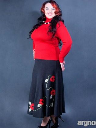 Юбка с красными цветами