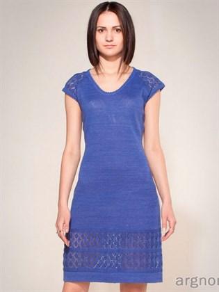Вязаное льняное платье